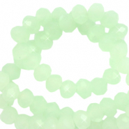 Top faceted beads 4x3mm disc Crystal Green Ash-Pearl Shine Coating