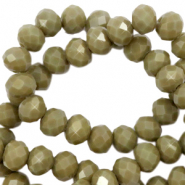 Top faceted beads 3x2mm disc Dusty Olive Green-Pearl Shine Coating