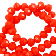 Top faceted beads 6x4mm disc Flame Orange Red-Pearl Shine Coating