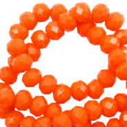 Top faceted beads 4x3mm disc Saffron Orange-Pearl Shine Coating