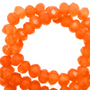 Top faceted beads 6x4mm disc Tigerlilly Orange-Pearl Shine Coating