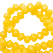 Top faceted beads 4x3mm disc Sunshine Yellow-Pearl Shine Coating