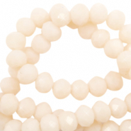 Top faceted beads 4x3mm disc Vanilla Delight Beige-Pearl Shine Coating