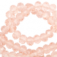 Top faceted beads 6x4mm disc Peachy Rose-Pearl Shine Coating
