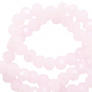 Top faceted beads 4x3mm disc Oleander Pink-Pearl Shine Coating
