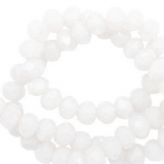 Top faceted beads 6x4mm disc Brilliant White-Pearl Shine Coating