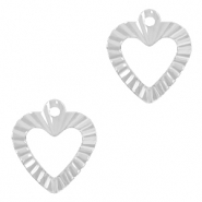 Brass TQ metal charms heart Silver
