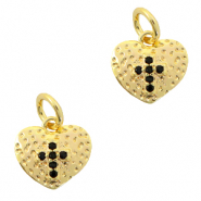 Brass TQ metal charms heart with cross Gold-Black