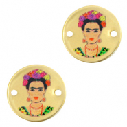 DQ European metal charms connector 15mm Frida Kahlo Antique Bronze (nickel free)