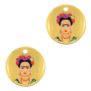 DQ European metal charms 15mm Frida Kahlo Gold (nickel free)