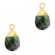 Natural stone charms Dark Green Marble-Gold