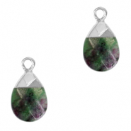 Natural stone charms Dark Green Marble-Silver