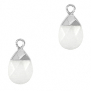 Natural stone charms White-Silver