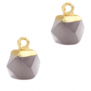 Natural stone charms hexagon Mirage Grey-Gold
