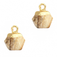 Natural stone charms hexagon Porcini Brown-Gold