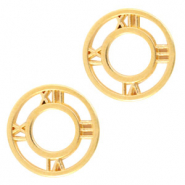 DQ European metal charms connector clock 12mm Gold (nickel free)