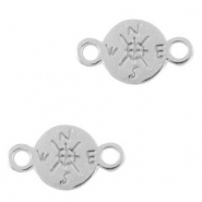 DQ European metal charms connector compass 9mm Antique Silver (nickel free)