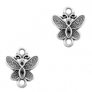 DQ European metal charms connector butterfly Antique Silver (nickel free)