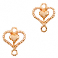 DQ European metal charms connector heart Rose Gold (nickel free)