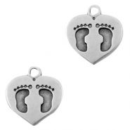 DQ European metal charms heart with foot print Antique Silver (nickel free)