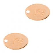 "DQ European metal charms oval ""joy"" Rose Gold (nickel free)"