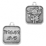 "DQ European metal charms rose & ""forever love"" Antique Silver (nickel free)"