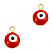Metal charms 6mm Evil eye Gold-Red