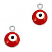Metal charms 6mm Evil eye Silver-Red