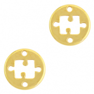 DQ European metal charms connector 15mm puzzle Gold (nickel free)