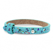 Leather Cuoio kids bracelet mosaic Turquoise
