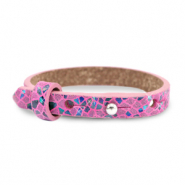 Leather Cuoio kids bracelet mosaic Fuchsia Orchid Rose