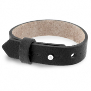 Cuoio bracelet leather 15 mm for 20 mm cabochon Jet Black