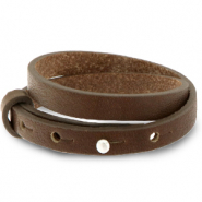 Cuoio bracelet leather 8 mm double for 12 mm cabochon Alcazar Brown