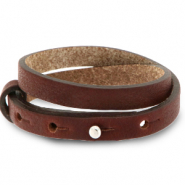Cuoio bracelet leather 8 mm double for 12 mm cabochon Burgundy Brown