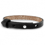 Cuoio bracelet leather 8 mm for 12 mm cabochon Jet Black
