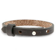 Cuoio bracelet leather 8 mm for 12 mm cabochon Dark Anthracite