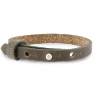 Cuoio bracelet leather 8 mm for 12 mm cabochon Warm Stone Taupe