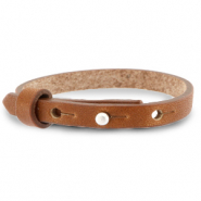 Cuoio bracelet leather 8 mm for 12 mm cabochon Saddle Brown