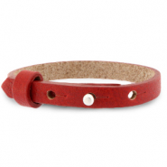 Cuoio bracelet leather 8 mm for 12 mm cabochon Ruby Red