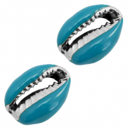 Shell beads specials Cowrie Mosaic Blue-Silver