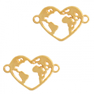 DQ European metal charms connector heart with earth Gold (nickel free)
