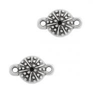 DQ European metal charms connector urchin round 10mm Antique Silver (nickel free)