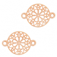 DQ European metal charms connector flower round 15mm Rose Gold (nickel free)