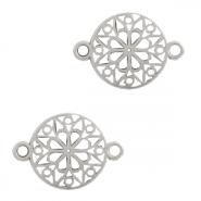 DQ European metal charms connector flower round 15mm Antique Silver (nickel free)