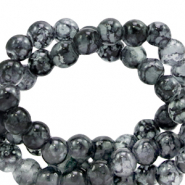 4 mm marbled glass beads Dark Grey
