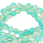 4 mm crackled glass beads Bleached Aqua Blue