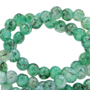 4 mm marbled glass beads Green Ash