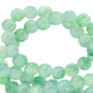 8 mm marbled glass beads Bleached Aqua Blue