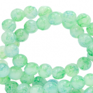 6 mm marbled glass beads Bleached Aqua Blue