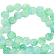 4 mm marbled glass beads Bleached Aqua Blue